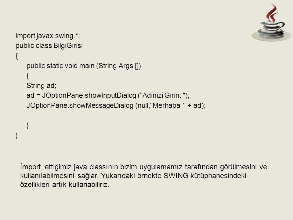 import javax.swing.*; public class BilgiGirisi. { public static void main (String Args []) String ad;
